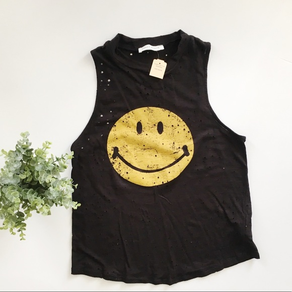 d3b08c2dba82f2 Honey Punch Smiley Face Distressed Tank